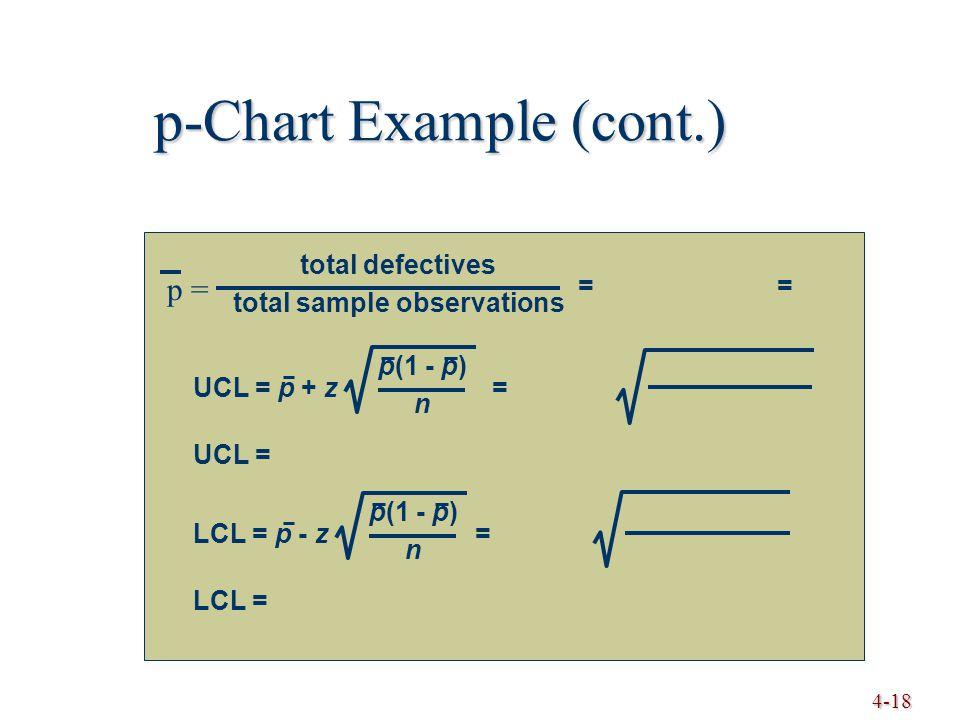 4-18 p-Chart Example (cont.) UCL = p + z = p(1 - p) n UCL = LCL = LCL = p - z = p(1 - p) n = total defectives total sample observations p =