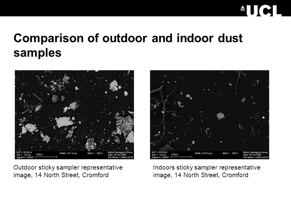 Comparison of outdoor and indoor dust samples Outdoor sticky sampler representative image, 14 North Street, Cromford Indoors sticky sampler representative image, 14 North Street, Cromford