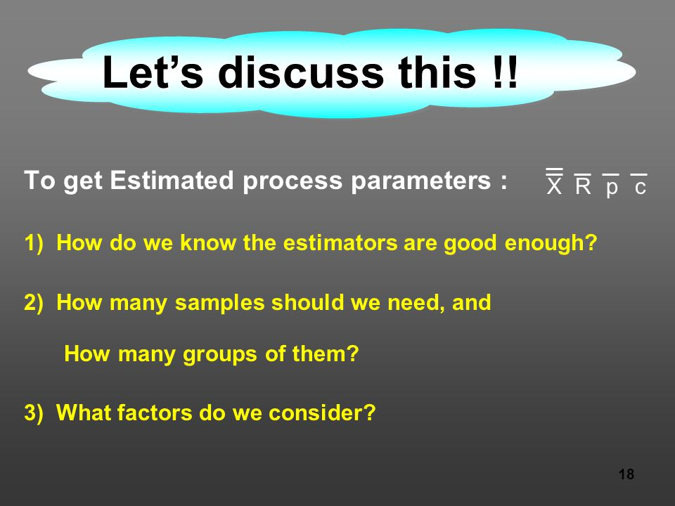 18 To get Estimated process parameters : 1) How do we know the estimators are good enough? 2) How many samples should we need, and How many groups of