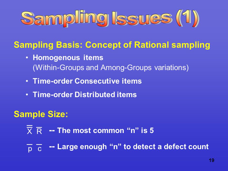 19 Sampling Basis: Concept of Rational sampling Homogenous items (Within-Groups and Among-Groups variations) Time-order Consecutive items Time-order Distributed items Sample Size: -- The most common n is 5 -- Large enough n to detect a defect count XR pc