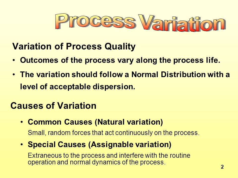 2 Variation of Process Quality Outcomes of the process vary along the process life. The variation should follow a Normal Distribution with a level of