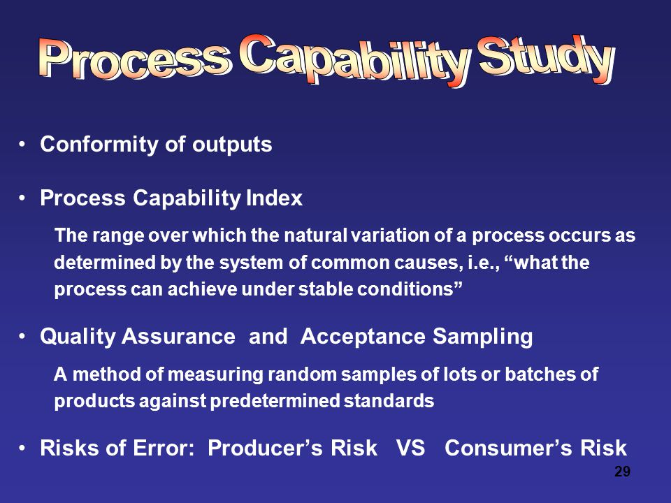 29 Conformity of outputs Process Capability Index The range over which the natural variation of a process occurs as determined by the system of common