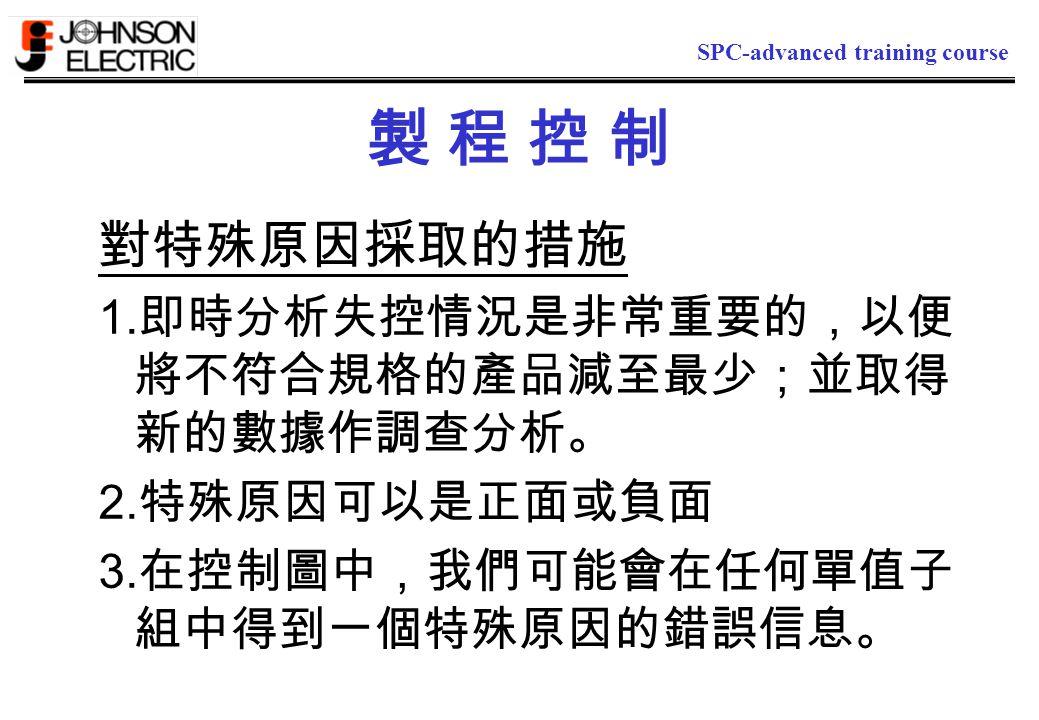 SPC-advanced training course 製 程 控 制製 程 控 制 對特殊原因採取的措施 1.
