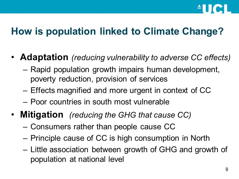 How is population linked to Climate Change.