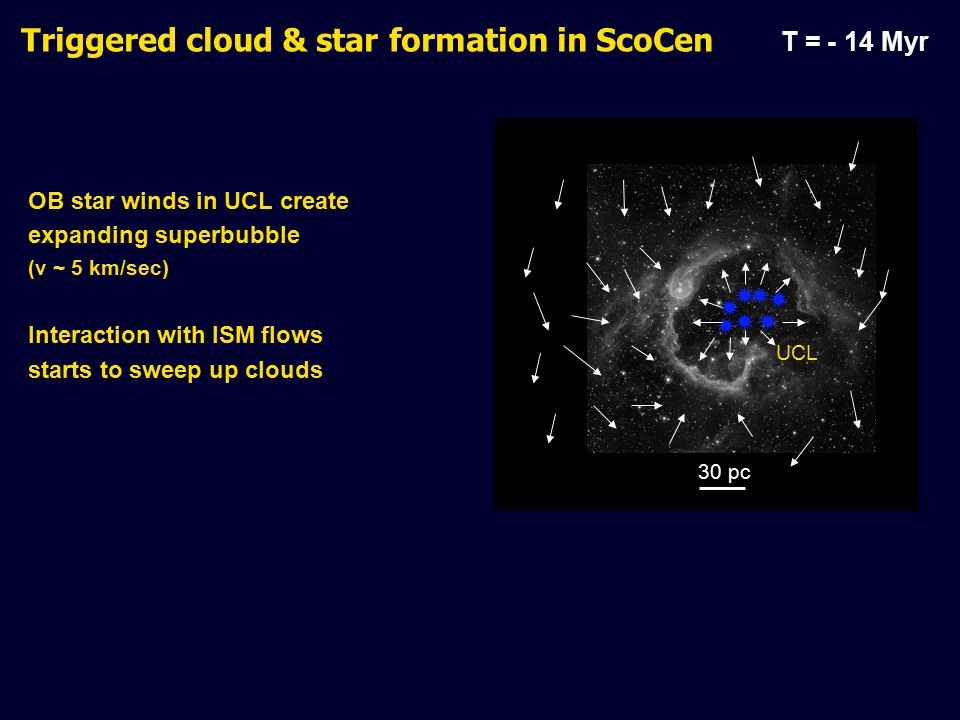 OB star winds in UCL create expanding superbubble (v ~ 5 km/sec) Interaction with ISM flows starts to sweep up clouds Triggered cloud & star formation in ScoCen T = - 14 Myr 30 pc        UCL