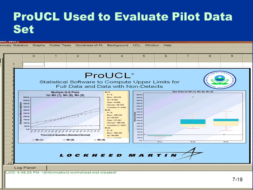 ProUCL Used to Evaluate Pilot Data Set 7-19