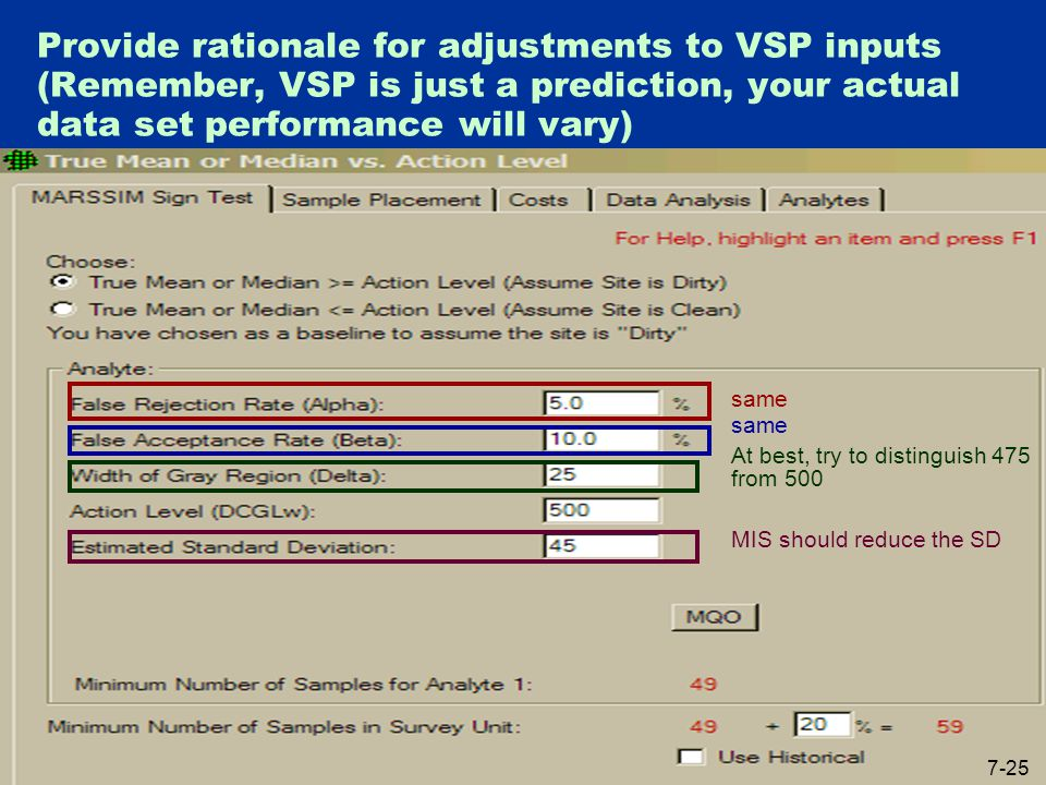 Provide rationale for adjustments to VSP inputs (Remember, VSP is just a prediction, your actual data set performance will vary) same At best, try to distinguish 475 from 500 MIS should reduce the SD 7-25