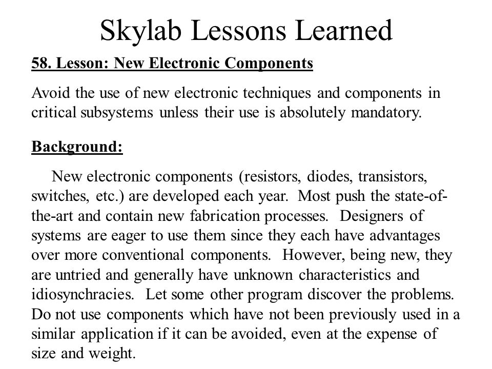 Skylab Lessons Learned 58.