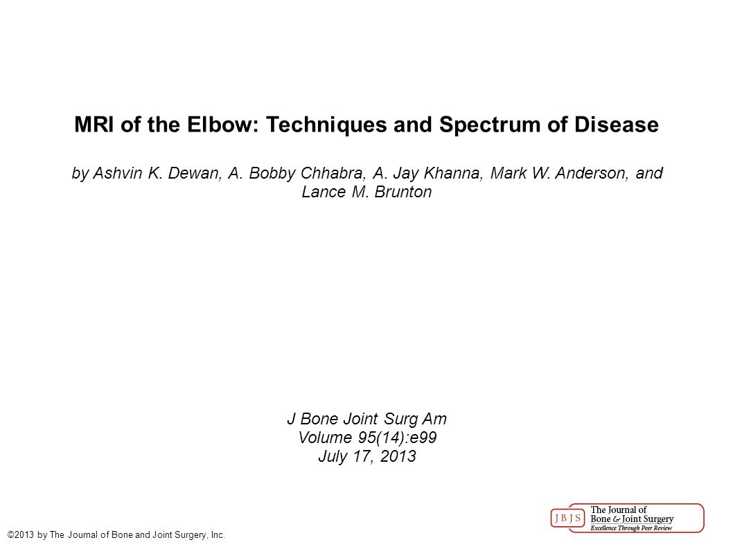 MRI of the Elbow: Techniques and Spectrum of Disease by Ashvin K.