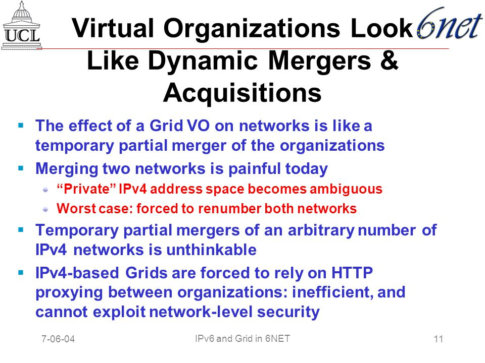 7-06-0411 IPv6 and Grid in 6NET Virtual Organizations Look Like Dynamic Mergers & Acquisitions  The effect of a Grid VO on networks is like a temporary partial merger of the organizations  Merging two networks is painful today Private IPv4 address space becomes ambiguous Worst case: forced to renumber both networks  Temporary partial mergers of an arbitrary number of IPv4 networks is unthinkable  IPv4-based Grids are forced to rely on HTTP proxying between organizations: inefficient, and cannot exploit network-level security