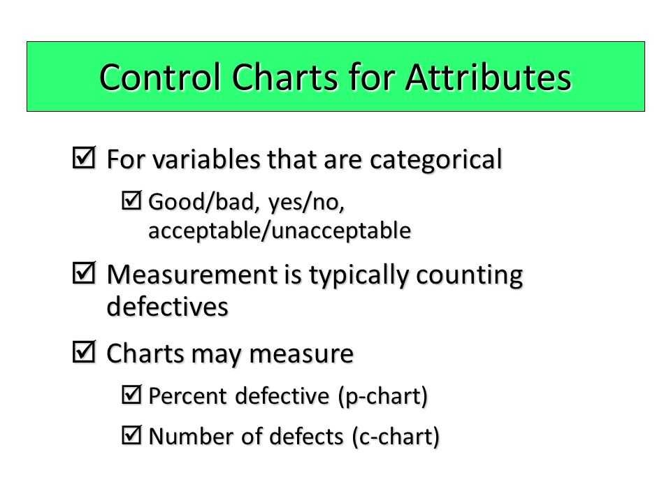 Control Charts for Attributes  For variables that are categorical  Good/bad, yes/no, acceptable/unacceptable  Measurement is typically counting def
