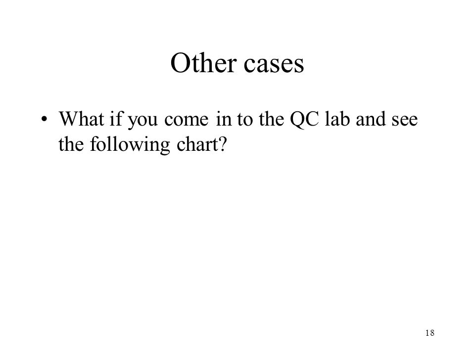 18 Other cases What if you come in to the QC lab and see the following chart?