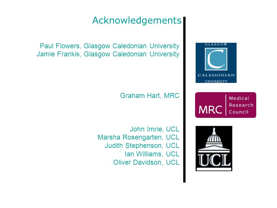 Acknowledgements Paul Flowers, Glasgow Caledonian University Jamie Frankis, Glasgow Caledonian University Graham Hart, MRC John Imrie, UCL Marsha Rosengarten, UCL Judith Stephenson, UCL Ian Williams, UCL Oliver Davidson, UCL