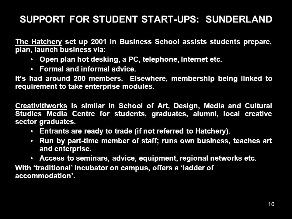 10 SUPPORT FOR STUDENT START-UPS: SUNDERLAND The Hatchery set up 2001 in Business School assists students prepare, plan, launch business via: Open plan hot desking, a PC, telephone, Internet etc.