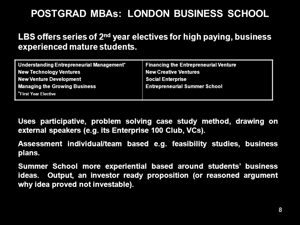 8 POSTGRAD MBAs: LONDON BUSINESS SCHOOL LBS offers series of 2 nd year electives for high paying, business experienced mature students.