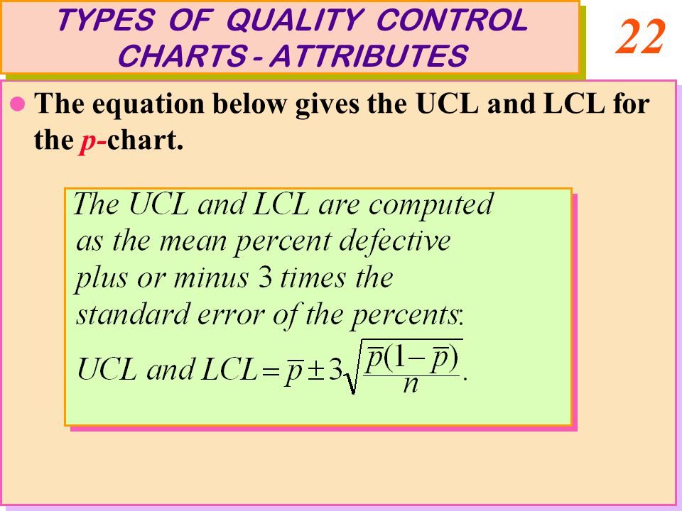 22 The equation below gives the UCL and LCL for the p-chart. The equation below gives the UCL and LCL for the p-chart. TYPES OF QUALITY CONTROL CHARTS