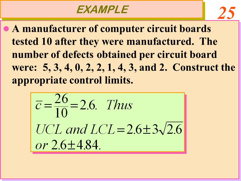 25 A manufacturer of computer circuit boards tested 10 after they were manufactured. The number of defects obtained per circuit board were: 5, 3, 4, 0