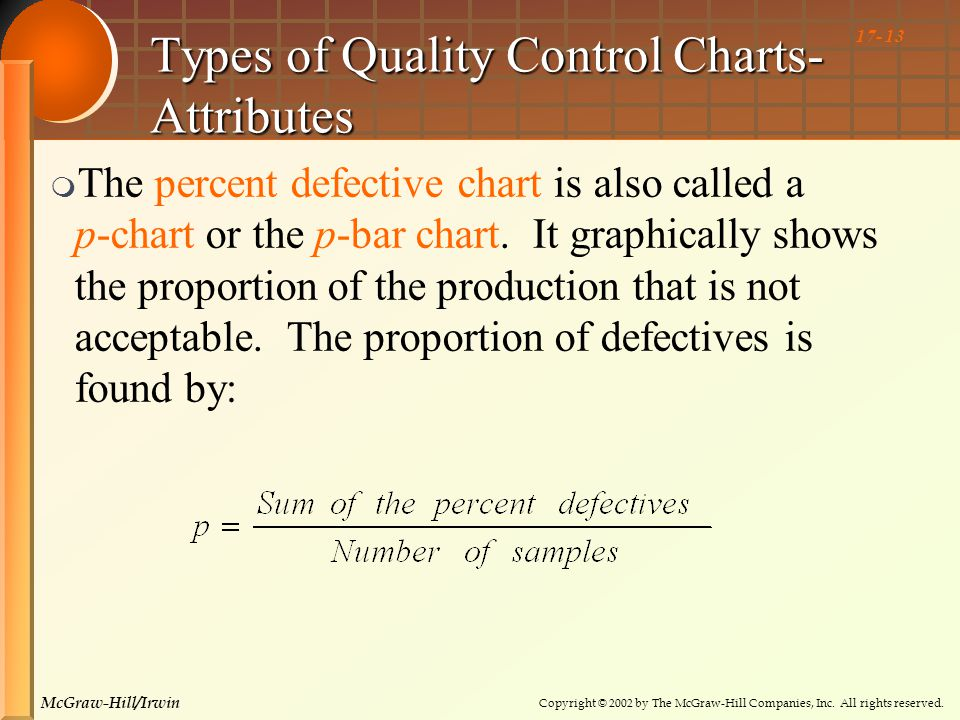 Copyright © 2002 by The McGraw-Hill Companies, Inc. All rights reserved. McGraw-Hill/Irwin 17- 13 Types of Quality Control Charts- Attributes  The pe