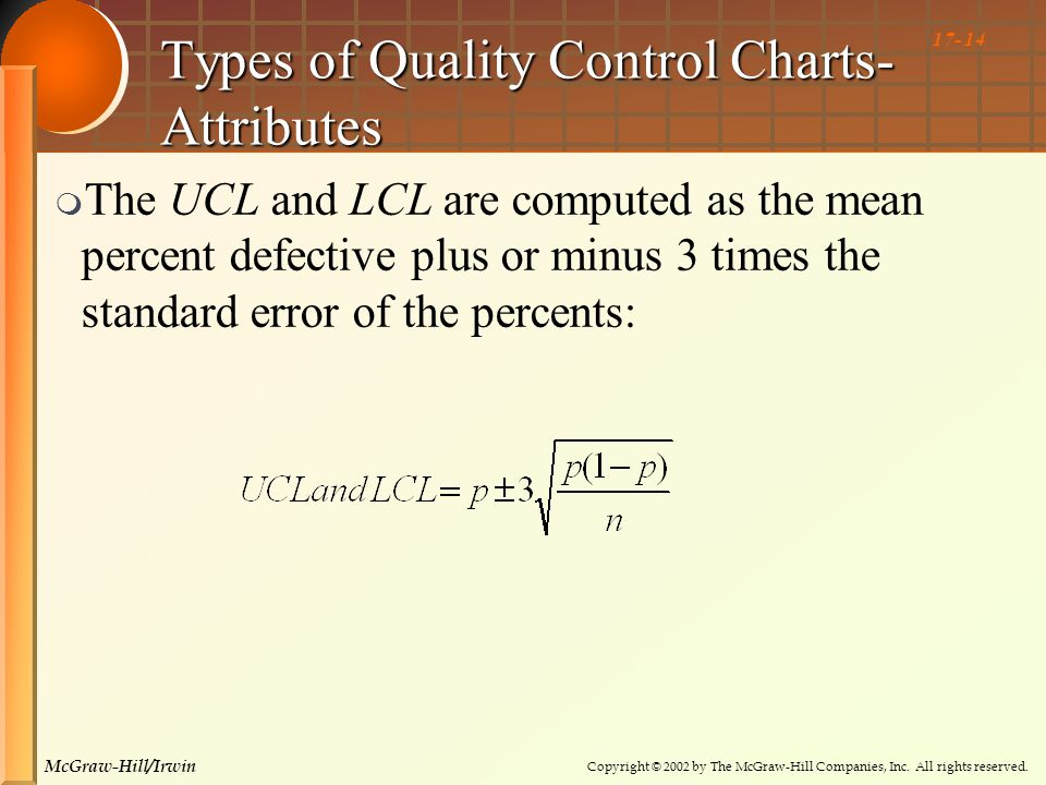 Copyright © 2002 by The McGraw-Hill Companies, Inc. All rights reserved. McGraw-Hill/Irwin 17- 14 Types of Quality Control Charts- Attributes  The UC
