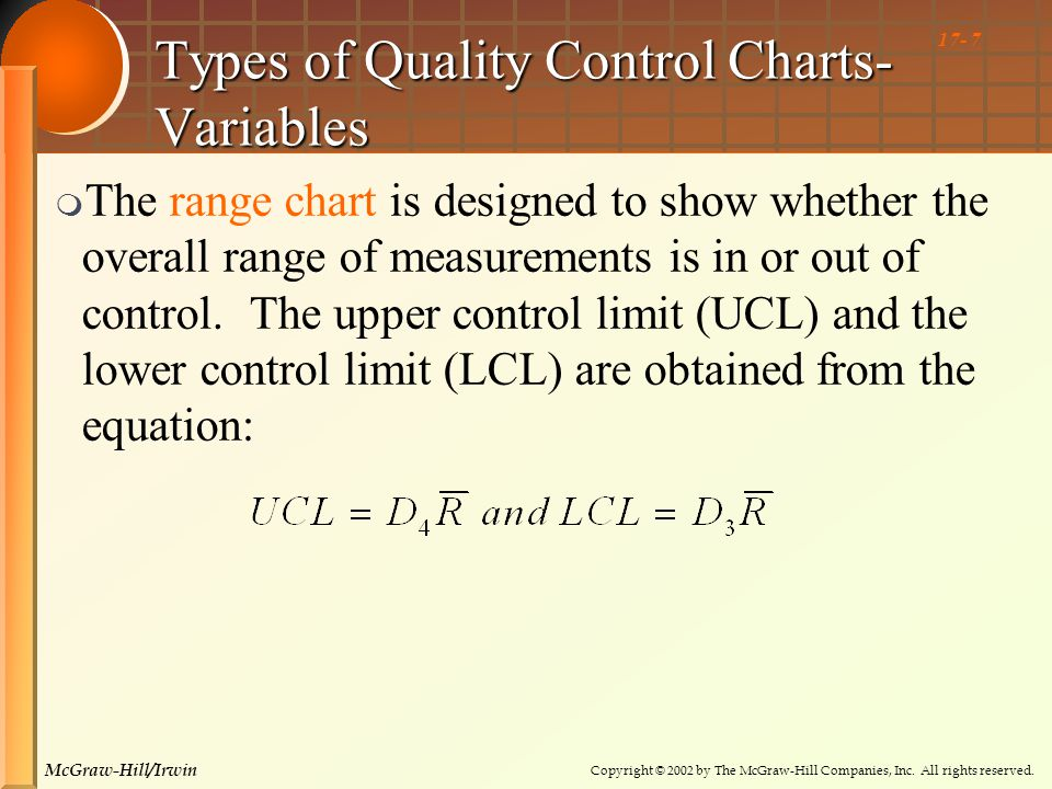 Copyright © 2002 by The McGraw-Hill Companies, Inc. All rights reserved. McGraw-Hill/Irwin 17- 7 Types of Quality Control Charts- Variables  The rang