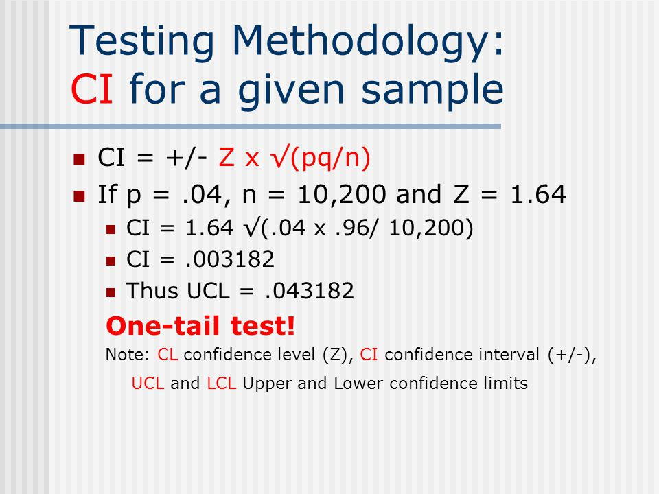Testing Methodology: CI for a given sample CI = +/- Z x √(pq/n) If p =.04, n = 10,200 and Z = 1.64 CI = 1.64 √(.04 x.96/ 10,200) CI =.003182 Thus UCL =.043182 One-tail test.