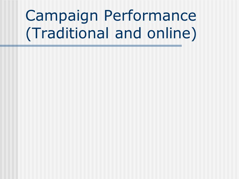 Campaign Performance (Traditional and online)