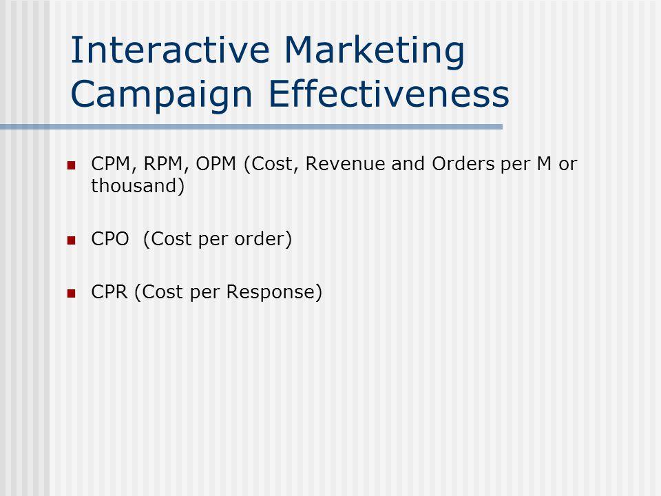 Interactive Marketing Campaign Effectiveness CPM, RPM, OPM (Cost, Revenue and Orders per M or thousand) CPO (Cost per order) CPR (Cost per Response)