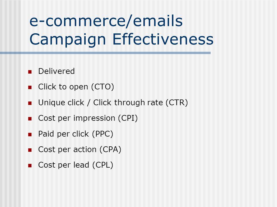 e-commerce/emails Campaign Effectiveness Delivered Click to open (CTO) Unique click / Click through rate (CTR) Cost per impression (CPI) Paid per click (PPC) Cost per action (CPA) Cost per lead (CPL)