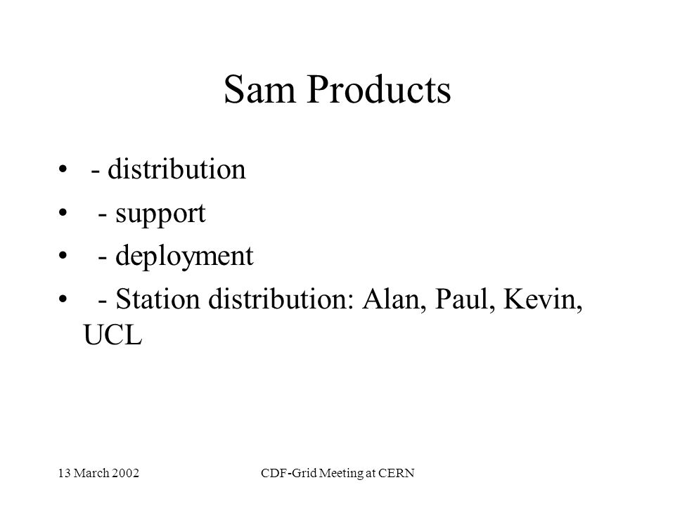 13 March 2002CDF-Grid Meeting at CERN Manpower and Projects Sam Product support Database Schema Query Language for Metadata; Browsing Performance and Monitoring Simulation Batch Machines and communication