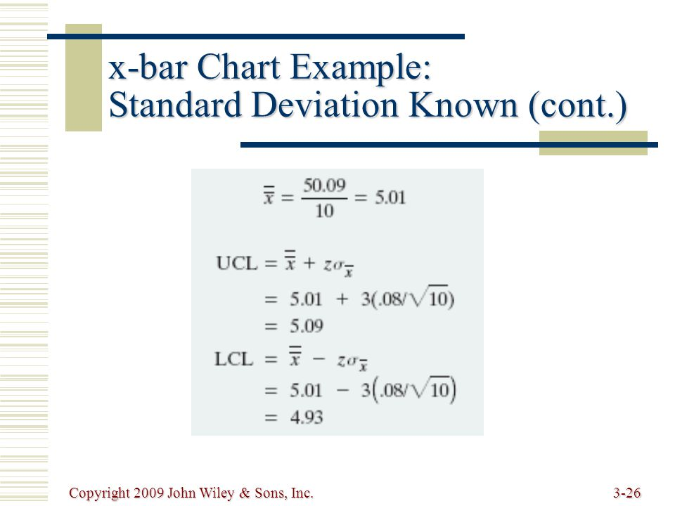 Copyright 2009 John Wiley & Sons, Inc.3-26 x-bar Chart Example: Standard Deviation Known (cont.)
