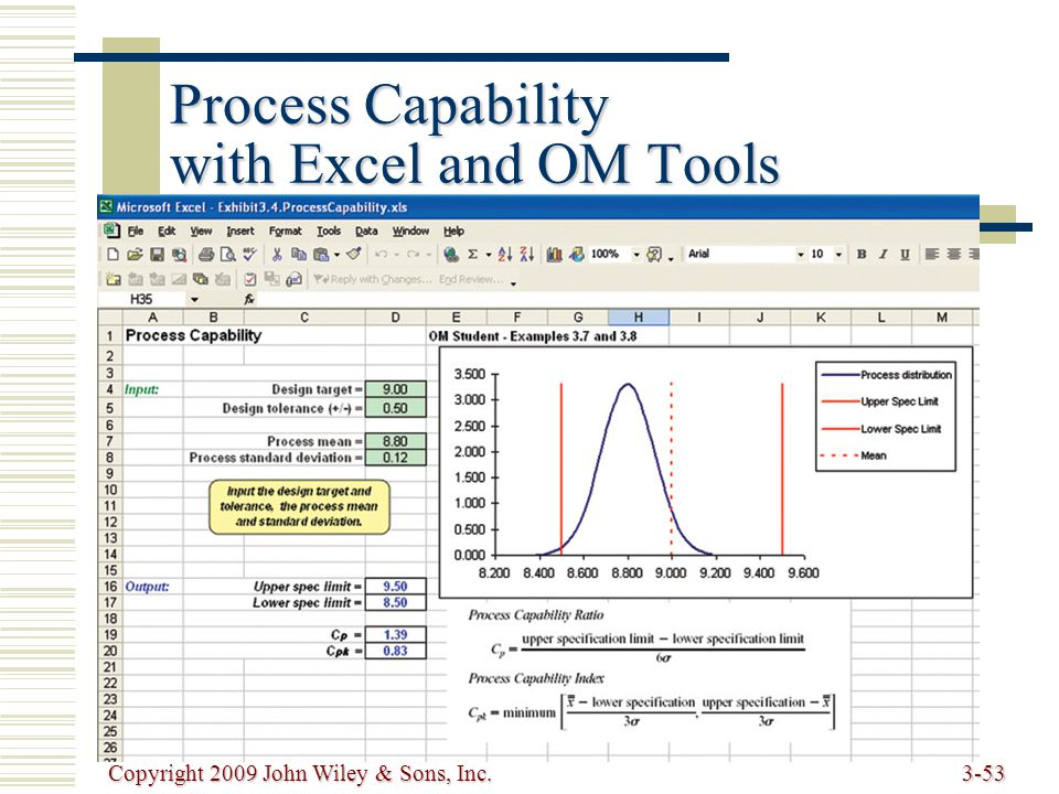 Copyright 2009 John Wiley & Sons, Inc.3-53 Process Capability with Excel and OM Tools
