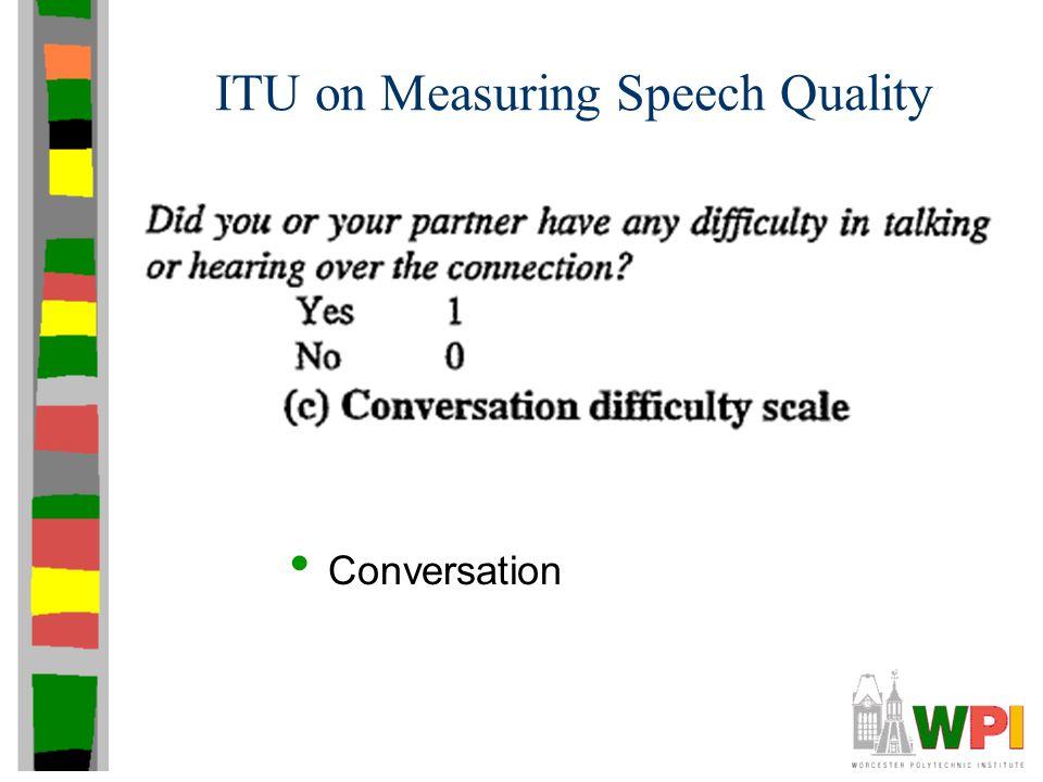 ITU on Measuring Speech Quality Conversation