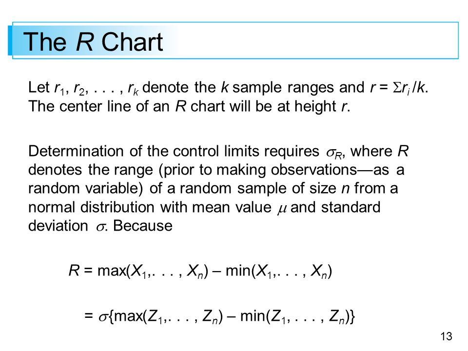 13 The R Chart Let r 1, r 2,..., r k denote the k sample ranges and r =  r i /k. The center line of an R chart will be at height r. Determination of