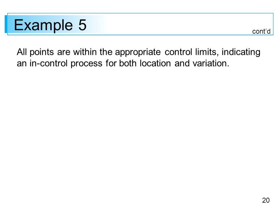 20 Example 5 All points are within the appropriate control limits, indicating an in-control process for both location and variation.