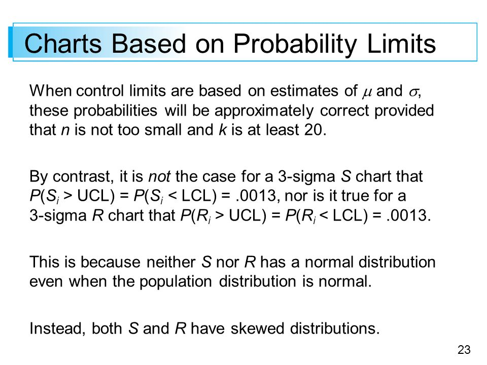 23 Charts Based on Probability Limits When control limits are based on estimates of  and , these probabilities will be approximately correct provided that n is not too small and k is at least 20.