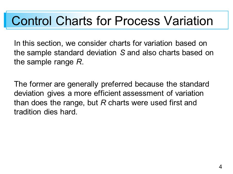 4 Control Charts for Process Variation In this section, we consider charts for variation based on the sample standard deviation S and also charts base