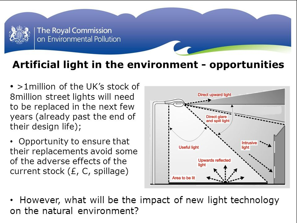 >1million of the UK's stock of 8million street lights will need to be replaced in the next few years (already past the end of their design life); Opportunity to ensure that their replacements avoid some of the adverse effects of the current stock (£, C, spillage) Artificial light in the environment - opportunities However, what will be the impact of new light technology on the natural environment