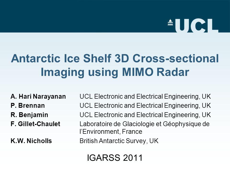 Antarctic Ice Shelf 3D Cross-sectional Imaging using MIMO Radar A.