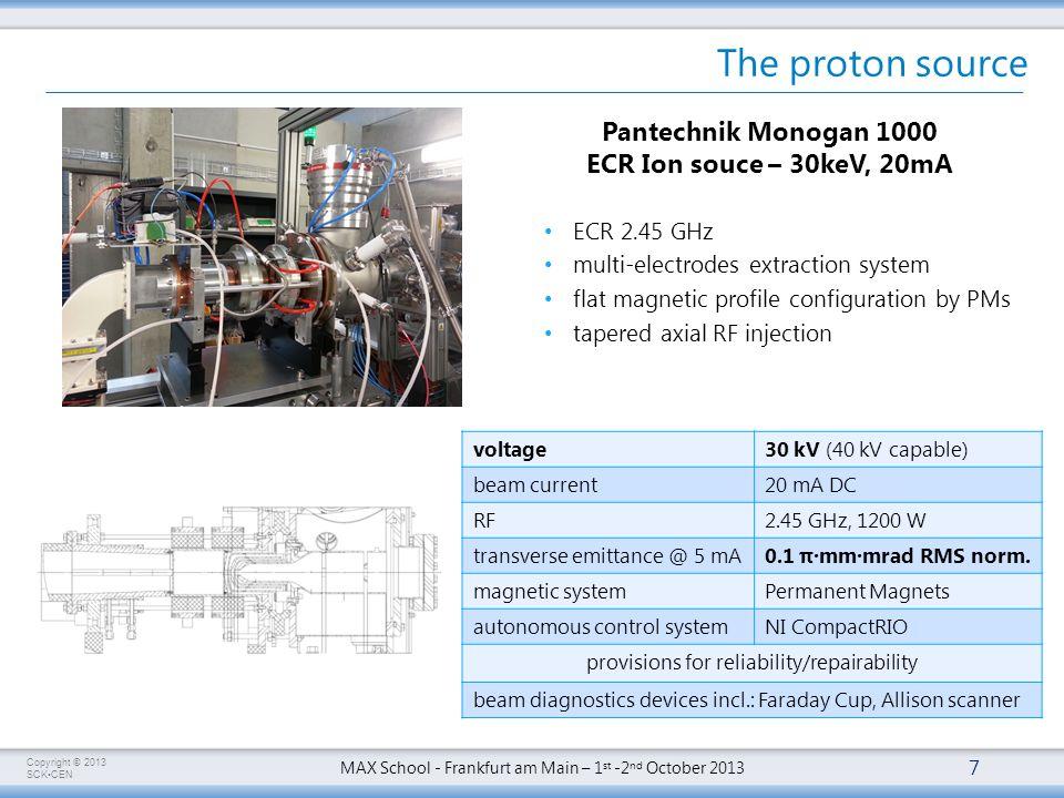 Copyright © 2013 SCKCEN MAX School - Frankfurt am Main – 1 st -2 nd October 2013 The proton source 7 Pantechnik Monogan 1000 ECR Ion souce – 30keV, 20mA voltage30 kV (40 kV capable) beam current20 mA DC RF2.45 GHz, 1200 W transverse emittance @ 5 mA0.1 π·mm·mrad RMS norm.