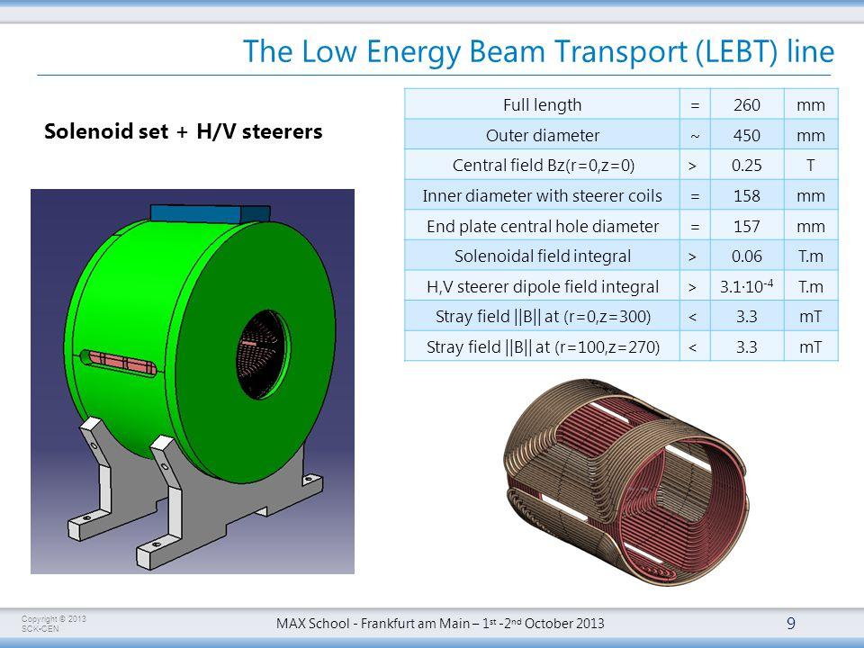 Copyright © 2013 SCKCEN MAX School - Frankfurt am Main – 1 st -2 nd October 2013 The Low Energy Beam Transport (LEBT) line 9 Solenoid set + H/V steerers Full length=260mm Outer diameter~450mm Central field Bz(r=0,z=0)> 0.25T Inner diameter with steerer coils=158mm End plate central hole diameter=157mm Solenoidal field integral> 0.06T.m H,V steerer dipole field integral> 3.1∙10 -4 T.m Stray field ||B|| at (r=0,z=300)< 3.3mT Stray field ||B|| at (r=100,z=270)< 3.3mT
