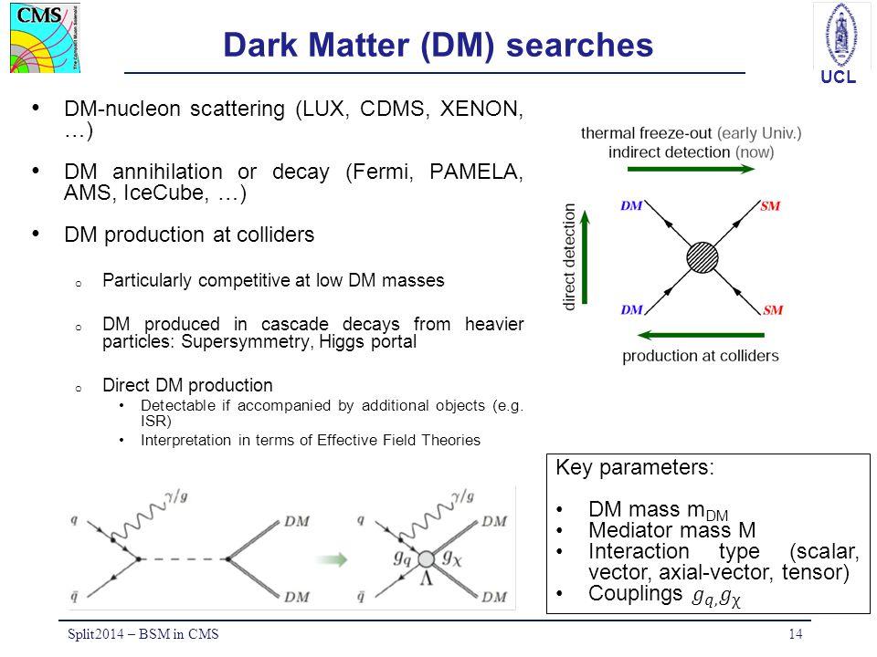 UCL Dark Matter (DM) searches DM-nucleon scattering (LUX, CDMS, XENON, …) DM annihilation or decay (Fermi, PAMELA, AMS, IceCube, …) DM production at c
