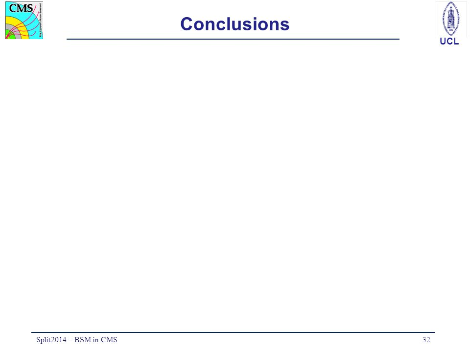 UCL Conclusions Split2014 – BSM in CMS32