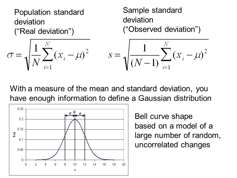 Population standard deviation ( Real deviation ) Sample standard deviation ( Observed deviation ) With a measure of the mean and standard deviation, you have enough information to define a Gaussian distribution Bell curve shape based on a model of a large number of random, uncorrelated changes
