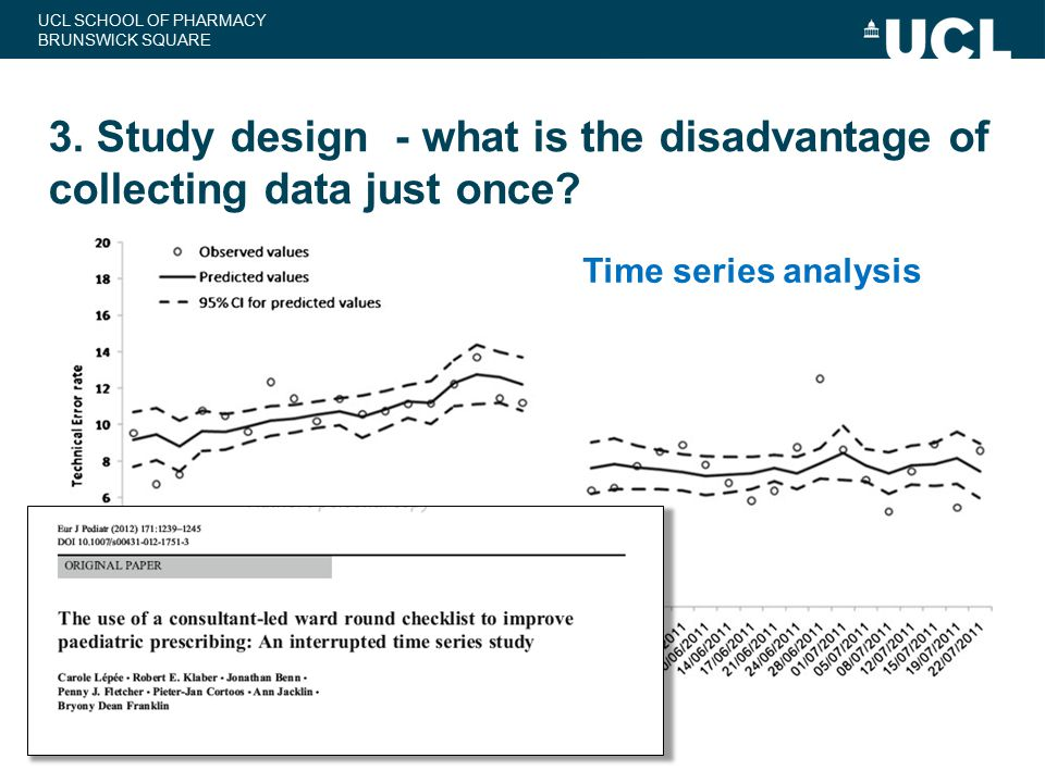 UCL SCHOOL OF PHARMACY BRUNSWICK SQUARE 3. Study design - what is the disadvantage of collecting data just once? Time series analysis