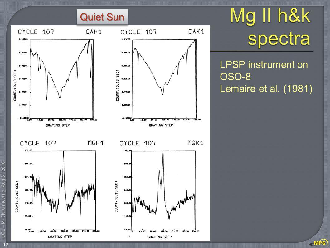 UCL – M-Class meeting, Aug 31 2010 12 LPSP instrument on OSO-8 Lemaire et al. (1981) Quiet Sun