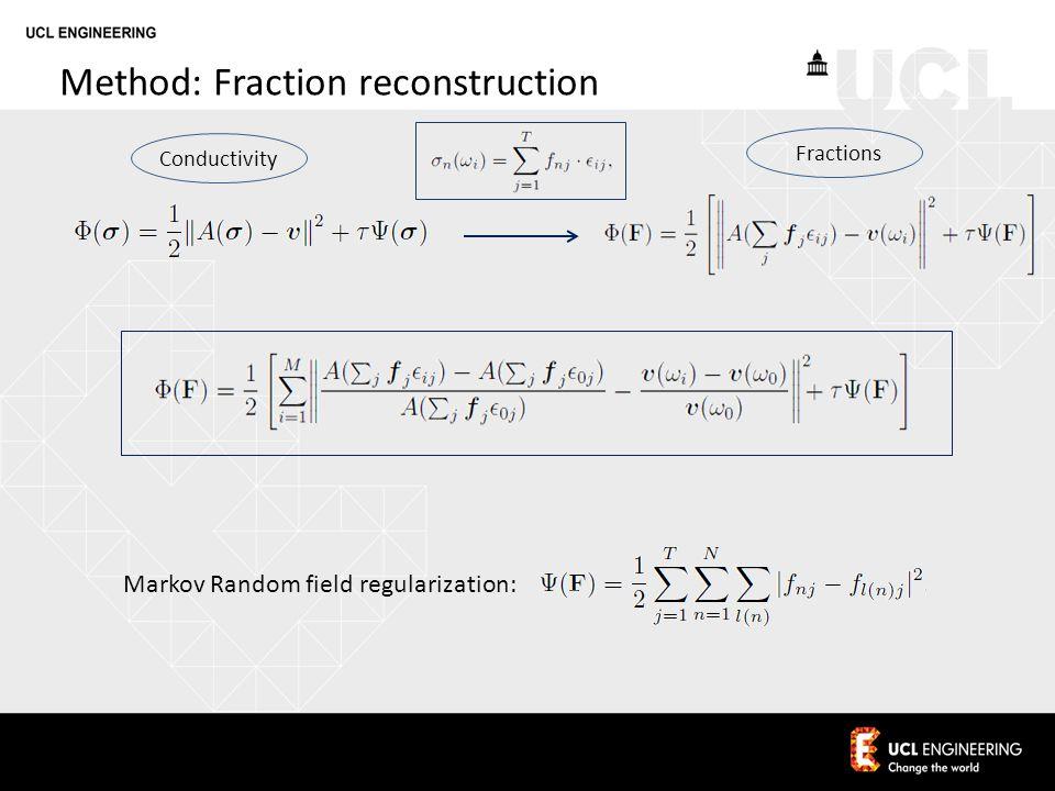 Method: Fraction reconstruction Conductivity Fractions Markov Random field regularization: