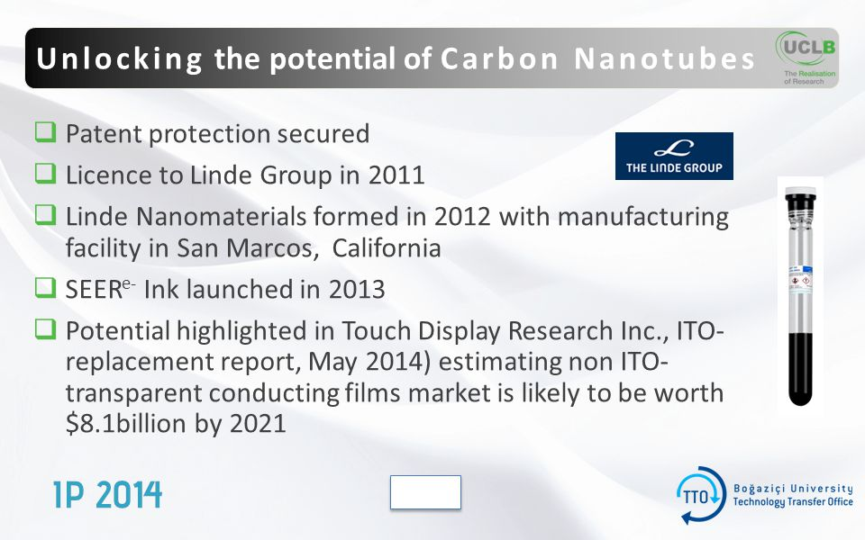  Patent protection secured  Licence to Linde Group in 2011  Linde Nanomaterials formed in 2012 with manufacturing facility in San Marcos, California  SEER e- Ink launched in 2013  Potential highlighted in Touch Display Research Inc., ITO- replacement report, May 2014) estimating non ITO- transparent conducting films market is likely to be worth $8.1billion by 2021 Unlocking the potential of Carbon Nanotubes