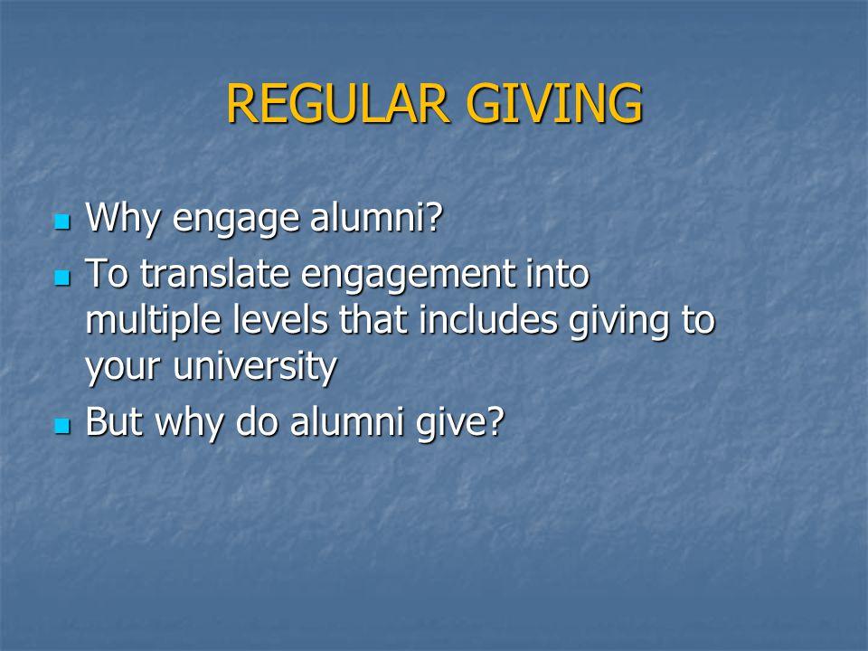 REGULAR GIVING Why engage alumni. Why engage alumni.