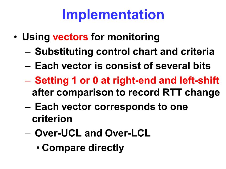 Implementation Using vectors for monitoring – Substituting control chart and criteria – Each vector is consist of several bits – Setting 1 or 0 at rig