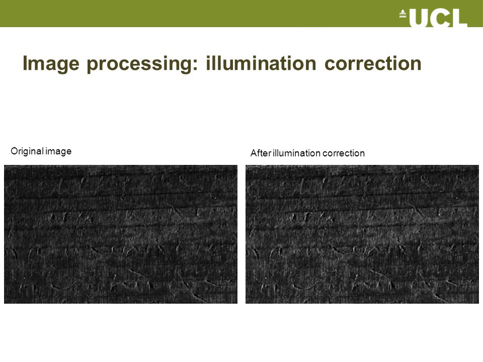 Image processing: illumination correction Original image After illumination correction